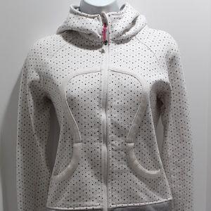 Lululemon scuba white hoodie polka dots Size 4